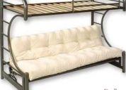 Vendo camarote futón metálico negro con colchón