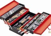 Excelente caja metalica con bandejas y con 101 herramientas