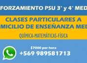 Clases particulares de química, física y matemáticas e. media $7000/hora