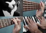 Clases y cursos de guitarra acústica-eléctrica, bajo eléctrico y piano-teclado