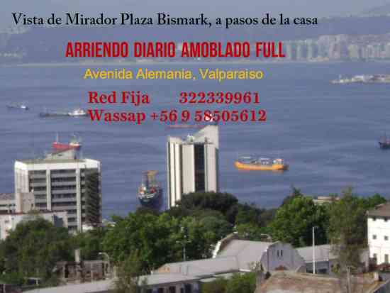 valparaiso, arriendo amoblado diario, impecable, fono 322339961
