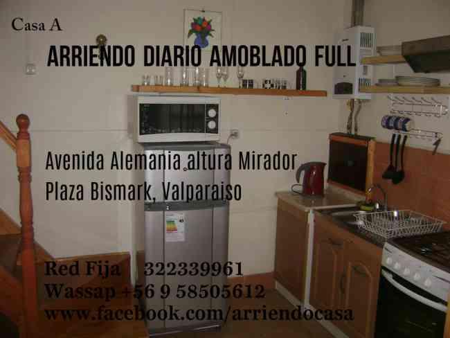 duplex amoblado, arriendo diario excelente ubicacion, valparaiso, central, costa