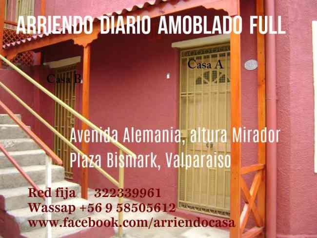 arriendo por noche, diario, casa amoblada en valparaiso, un ambiente, central