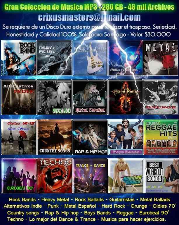 Gran Colección de música Mp3 280 gb