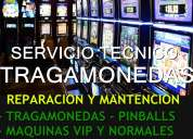 Reparacion servcio tecnico tragamonedas, maquinas pinball, maquinas garage, maquinas vip y normales