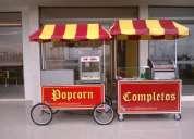 Carro de completos, algodón de azúcar, popcorn, inflables, tacas, toro, camas elasticas y mas
