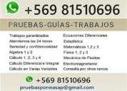 Pruebas/clases cálculo química física whatsapp +56981510696