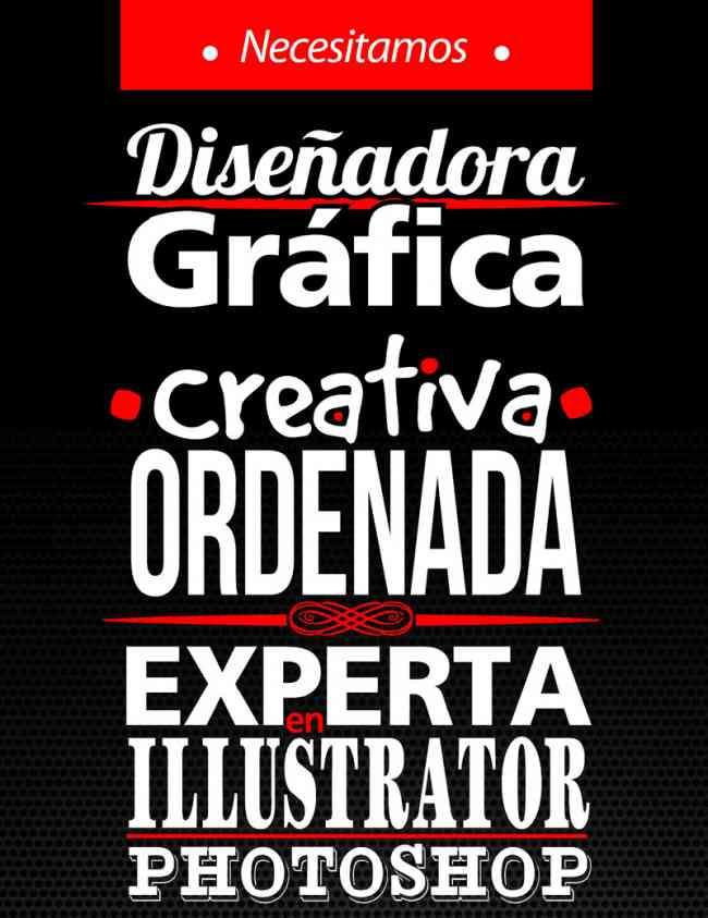 Necesitamos Diseñadora Gráfica Creativa, Ordenada y Experta en Illustrator y Photoshop CS