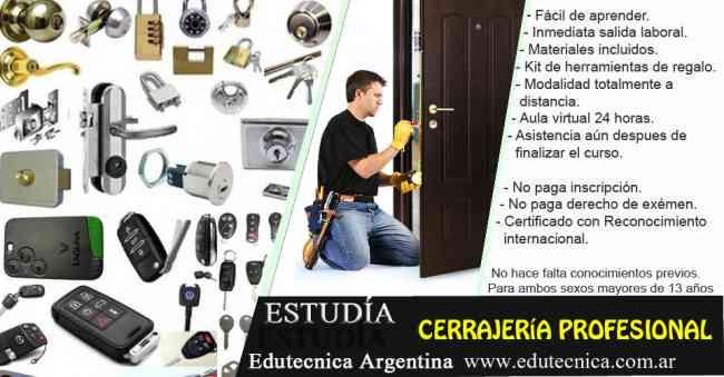 Curso de cerrajeria integral con materiales y herramientas.