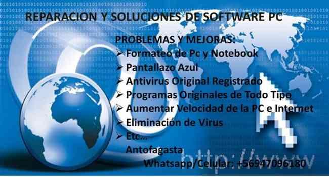 Formateo Servicio Tecnico PC Antofagasta Mi Casa Particular $7000/a Domicilio $12000. +56947096180
