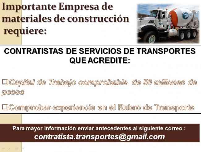 Empresa de materiales de construcción requiere contratistas de transporte