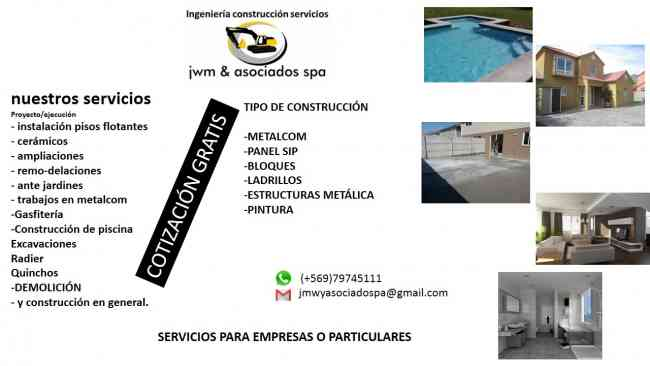Empresa jwm y asociados spa ofrece servicios de construcción ,