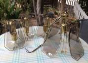 Juego lamparas antigua colgante bronce