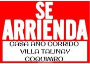 Arriendo casa en villa talinay coquimbo