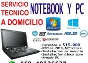 Formateo y reparacion de notebook a domicilio.