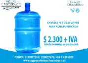 Se venden envases de 20 litros para gua