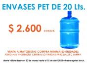Venta de envases pet de 20 litros