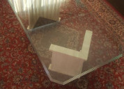 Exclusivísima mesa de centro cristal y mármol