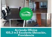 Arriendo providencia oficina excelente conectividad 105.3 m2